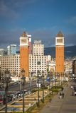 Beautiful towers on the Plaza of Spain in Barcelona.  stock photos