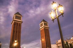 Beautiful towers on the Plaza of Spain in Barcelona.  royalty free stock images