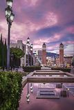 Beautiful towers on the Plaza of Spain in Barcelona.  stock images
