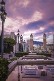Beautiful towers on the Plaza of Spain in Barcelona.  stock image