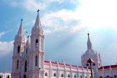 Beautiful towers of the world famous basilica of Our Lady of Good Health in velankanni. Stock Images