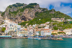 Beautiful town of Amalfi,front view, Amalfi coast, Campania, Italy Royalty Free Stock Photos