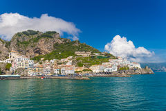 Beautiful town of Amalfi,front view, Amalfi coast, Campania, Italy. Beautiful town of Amalfi,front view with sea and boats in foreground, Amalfi coast, Campania stock photo
