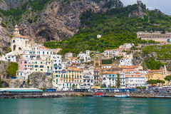 Beautiful town of Amalfi,front view, Amalfi coast, Campania, Italy Stock Photos