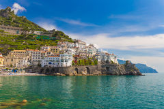 Beautiful town of Amalfi, nice contrasty sky, Amalfi coast, Campania, Italy. Beautiful town of Amalfi, nice contrasty sky, Amalfi coast, Campania, Southern Italy Stock Image
