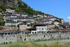 Berat Old Town Traditional Houses in Albania royalty free stock images