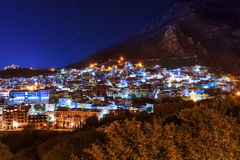 The beautiful town of Chefchaouen in the Rif Montains, Morocco, at night Royalty Free Stock Photo