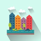 Beautiful town houses. The flat design of the city Stock Images