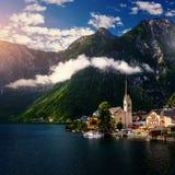 Beautiful town between the mountains. Austria. Europe. Stock Photos