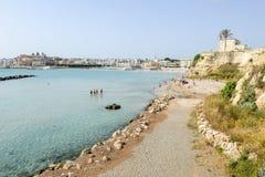 Beautiful town of Otranto and its beach on Salento peninsula Stock Image