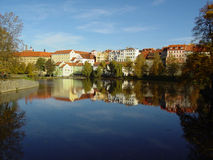The beautiful town Pisek on the river Otava Stock Images