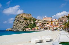 Beautiful town Scilla with medieval castle on rock, Calabria, It stock images