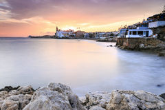 Beautiful town of Sitges at sunset, Spain Royalty Free Stock Photography