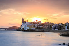Beautiful town of Sitges at sunset, Spain Stock Image