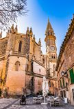 Spain Majorca, view of old town with church of Manacor. Beautiful town square with view of church in Manacor on Mallorca island, Spain Mediterranean Sea Royalty Free Stock Images