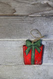 Beautiful toy present box on the wooden background Stock Photo