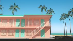 3D animation of motel buildings standing next to the beach with ocean view. Beautiful tracking shot through the block of classic American two-story pink hotel stock video
