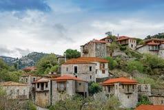 Beautiful traditional achitecture on mountain of Mainalo.Stemnitsa village in Greece.  stock images