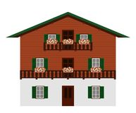 Free Beautiful Traditional Austrian Wooden Mountain House, Isolated. Alpine Chalet. Vector Illustration. Stock Photography - 158953622