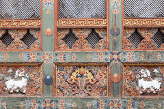 Detail of the wood craft in Bhutan Royalty Free Stock Images