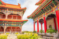Beautiful traditional chinese temple with blue sky at Wat Leng-N Royalty Free Stock Photography