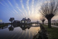 Sunrise at Zaanse Schans wooden house royalty free stock image