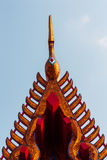 Golden Thai gable. The beautiful traditional golden Thai gable at Thai temple Royalty Free Stock Images