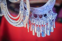 Beautiful traditional Hmong hill tribe silver ornaments for sale. As souvenir at Doi Pui's Hmong ethnic hill-tribe village, Chiang Mai, Thailand stock photos
