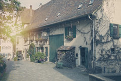 Beautiful traditional houses on the street of the small city in Bavaria, Germany. Stock Image
