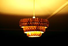 A beautiful traditional lamp made of banana leaf, Masai Mara, Kenya. A beautiful lamp hanging from the roof Stock Images