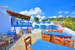 Beautiful traditional little tavern on top of Skopelos town, Skopelos island, Greece royalty free stock photo