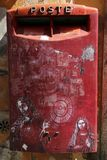 Beautiful traditional mailbox red colors, Rome, Italy. royalty free stock photography