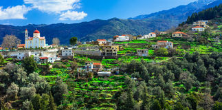 Beautiful traditional mountain village Lakki in Crete island. Gr Royalty Free Stock Images