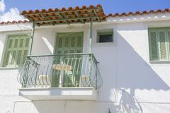 Beautiful traditional old house in Poros island. In Greece Stock Photos