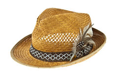 Beautiful traditional Panama hat with feather decorated Stock Photos