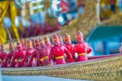 Beautiful traditional Thai style craving patterned of Suphannaho. Ng royal barge. Swan head craved pattern in thai royal barge Stock Photo