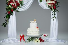Cake with bone for dog wedding. Beautiful traditional white wedding cake with bone decor for dog wedding party standing under flower archway. studio shot. copy stock images