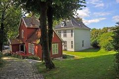 Beautiful traditional wooden scandinavian house in Bergen's museum, Norway Stock Photography