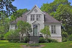 Beautiful traditional wooden scandinavian house in Bergen's museum, Norway Stock Images