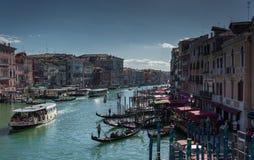 The traffic with gandolas at Venice Italy. Beautiful traffic created by all gondalas at Venice Italy 2015 Royalty Free Stock Photos