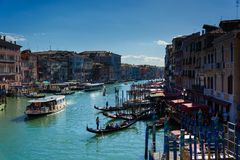 The traffic with gandolas at Venice Italy. Beautiful traffic created by all gondalas at Venice Italy 2015 Stock Images