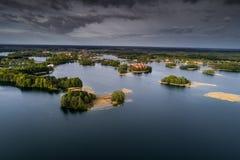 Beautiful Trakai city and lake stock photos