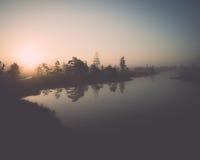 Beautiful tranquil landscape of misty swamp lake Stock Photo