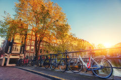 Beautiful tranquil scene the city of Amsterdam. Royalty Free Stock Image