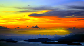Beautiful tranquil sunset. Over the ocean royalty free stock image