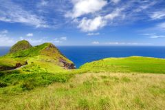 Beautiful tranquil view of Maui landscape with white clouds over green fields. Maui, Hawaii. USA Royalty Free Stock Image