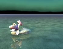 Beautiful tranquil zen scene with rocks and flower. 3d render Stock Photo