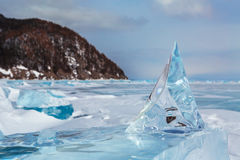 Beautiful transparent block of ice. Stock Photos