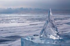 Beautiful transparent block of ice.