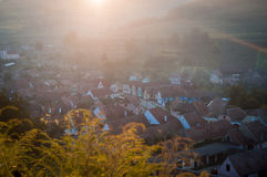 Beautiful Transylvanian saxon village in morning sunlight Royalty Free Stock Photography